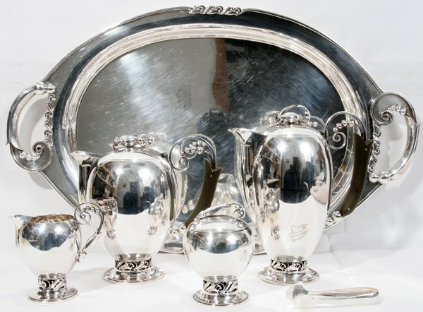 031001: DANISH STYLE STERLING SILVER TEA & COFFEE SET
