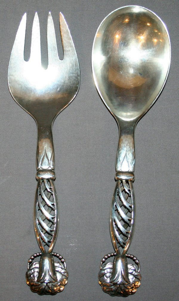 031003: G. JENSEN STERLING SILVER SALAD SERVING SET