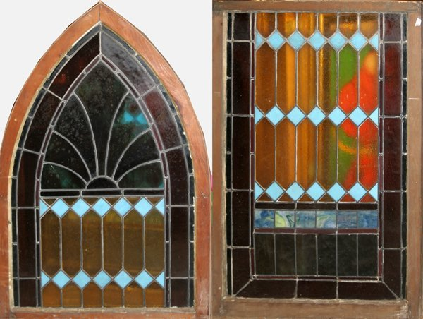 031014: STAINED GLASS WINDOWS, EARLY 20TH CENTURY TWO