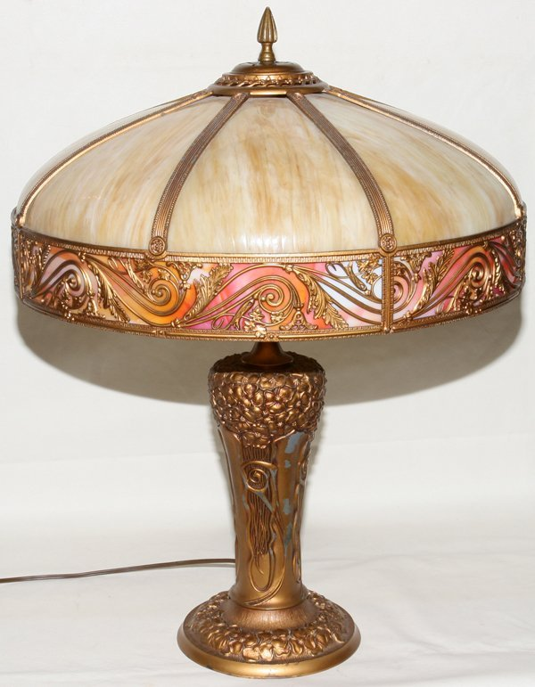 "031016: BENT GLASS TABLE LAMP C. 1920, H 24"", DIA 20"""
