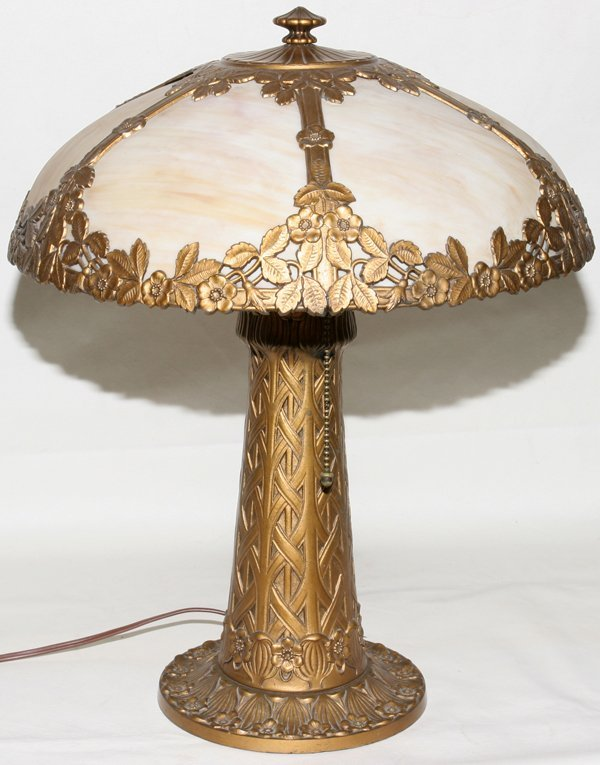"031018: BENT GLASS TABLE LAMP, C. 1920, H 20"" DIA 14"""