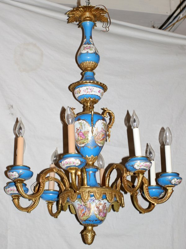 031020: FRENCH STYLE PORCELAIN CHANDELIER DIA 24""