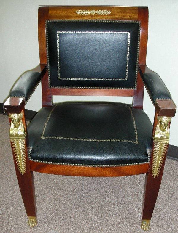 031022: FRENCH EMPIRE STYLE MAHOGANY & LEATHER CHAIR