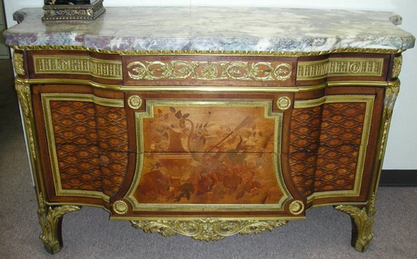 031024: FRENCH STYLE COMMODE W/BRONZE & A MARBLE TOP