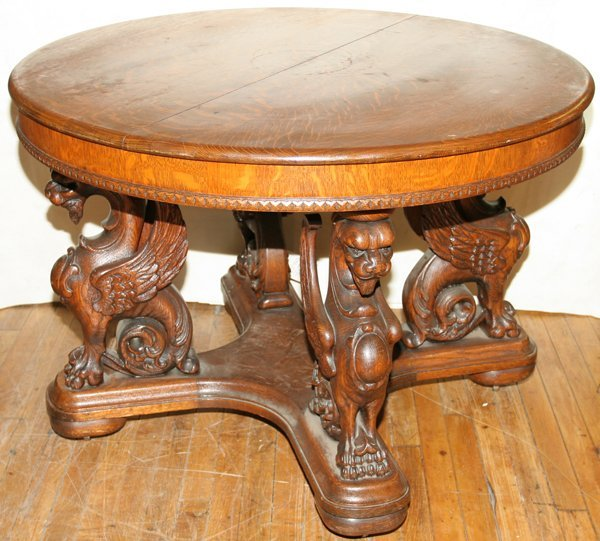 031150: EDWARDIAN OAK ROUND TABLE WITH GARGOYLES
