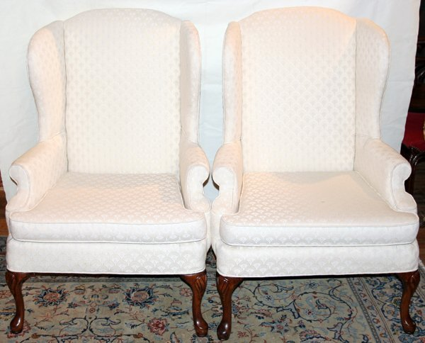 031384: WHITE UPHOLSTERED WING BACK CHAIRS, PAIR
