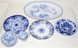 031504: ENGLISH, GERMAN BLUE & WHITE PORCELAIN GROUP
