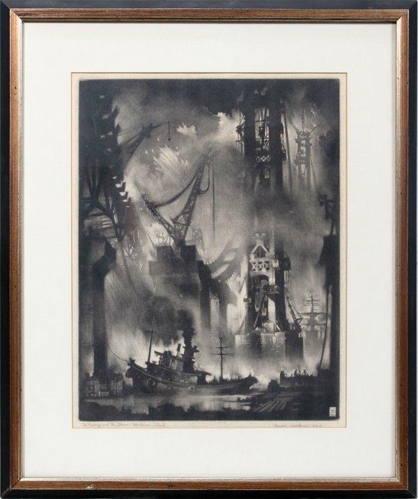 """032004: REYNOLD H. WEIDENAAR MEZZOTINT, 1957, 16 3/4"""""""