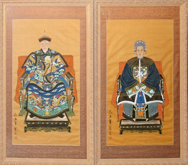 032022: CHINESE ANCESTRAL WATERCOLOR PORTRAITS, PAIR