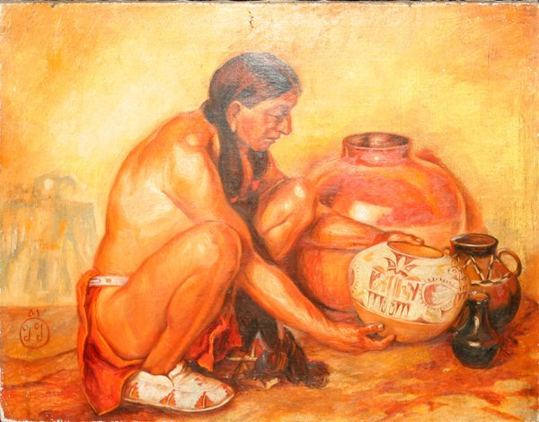 032025: A.M. LAWSON OIL ON CANVAS INDIAN WITH POTTERY