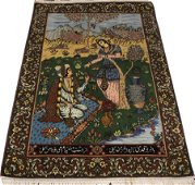 PERSIAN, TABRIZ, PICTORIAL, HAND WOVEN WOOL RUG