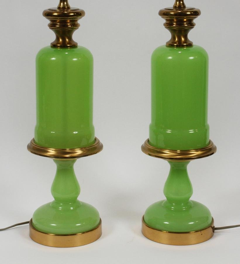 PAUL HANSON OPALINE GLASS & BRASS LAMPS