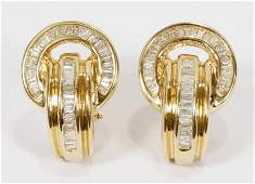 DIAMONDS GOLD EARINGS OMEGA CLIP WITH POST