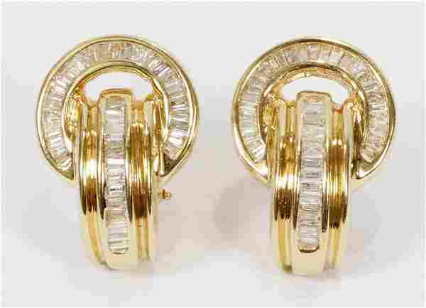 DIAMONDS, GOLD, EARINGS, OMEGA CLIP WITH POST