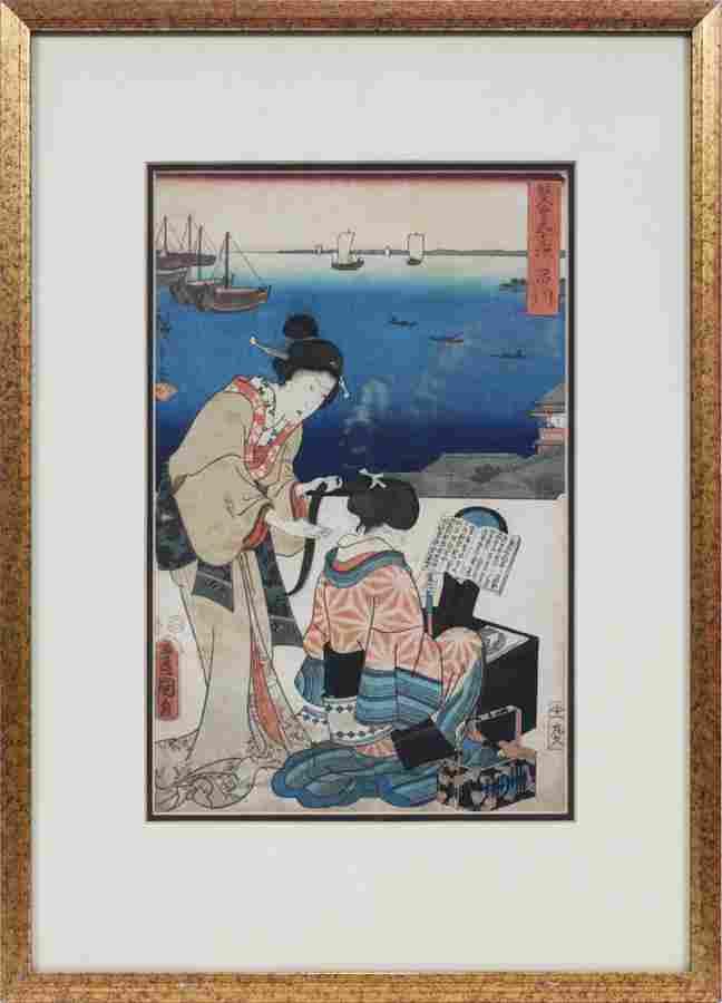 TOYOKUNI, UKIYO-E COLOR WOODBLOCK PRINT