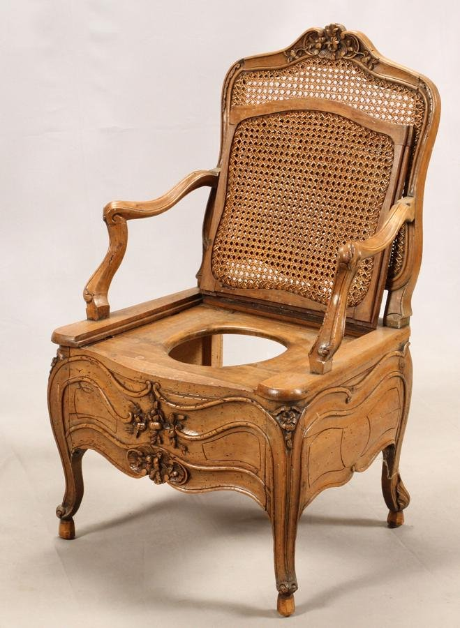 FRENCH, CARVED WALNUT AND CANE COMMODE, CHAIR