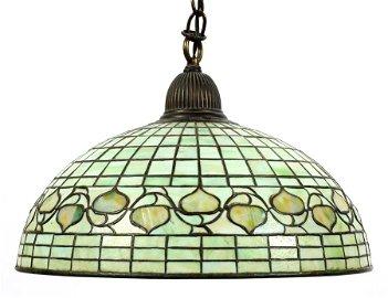 """TIFFANY ACORN HANGING LAMP, H 8.5"""", DIA 16"""""""