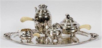 GEORG JENSEN DENMARK STERLING 4 PIECE TEA SET