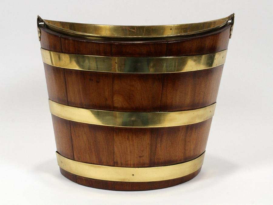 LATE GEORGE III, BRASS BANDED WOOD PEAT BUCKET