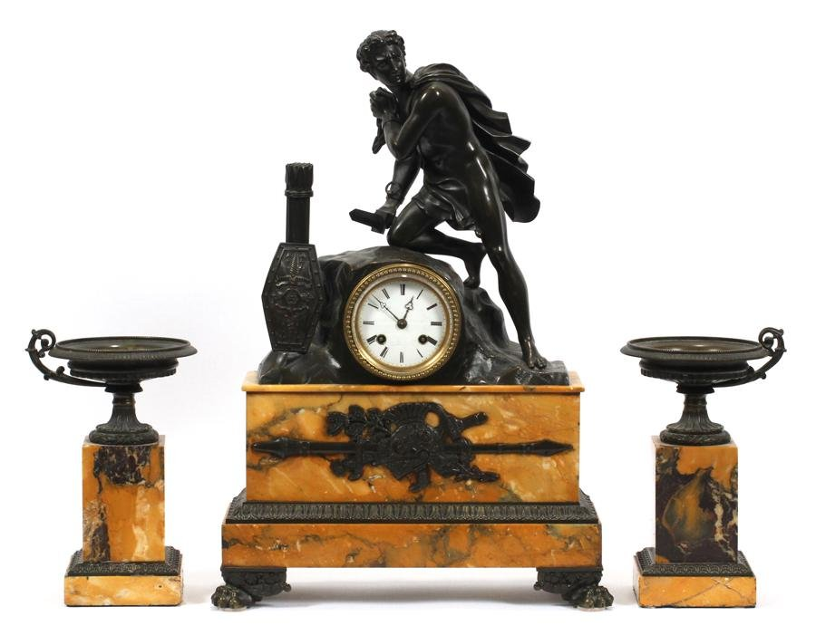 FRENCH BRONZE & MARBLE MANTEL CLOCK SET, 19TH.C.