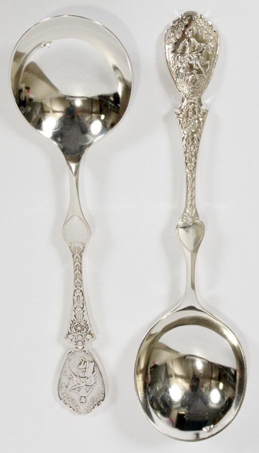 ENGLISH, STERLING SILVER  SERVING SPOONS,  2 PCS