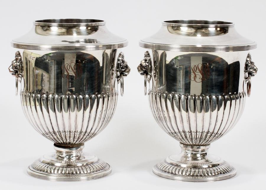 ENGLISH SILVER PLATE CHAMPAGNE COOLERS, PAIR