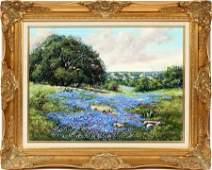 "L. WESTERFIELD, OIL ON CANVAS, ""BLUE BONNETS"""