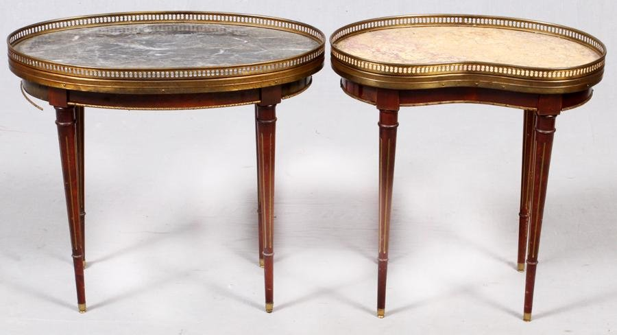 FRENCH LOUIS XVI STYLE MARBLE TOP TABLES, 2 PCS.