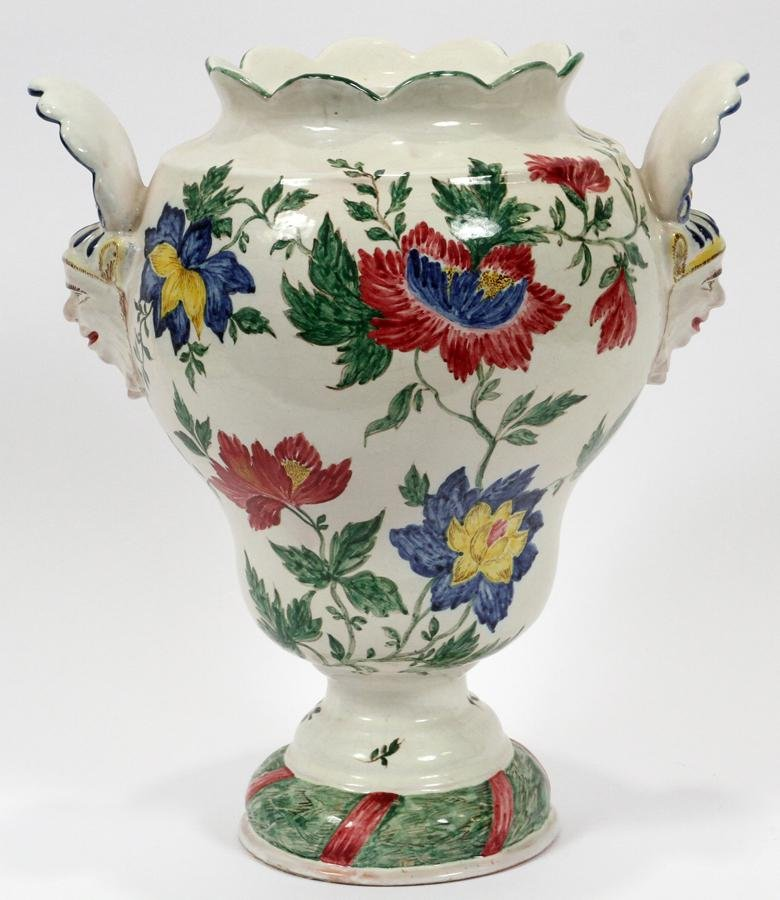 FRENCH POTTERY VASE, 19TH C. H 14""