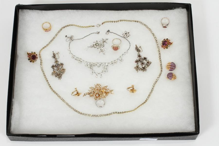 UNMARKED SILVER COSTUME NECKLACES, EARRINGS
