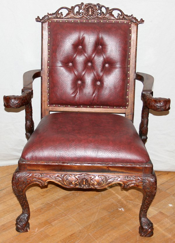040016: CARVED MAHOGANY & TUFTED LEATHER ARM CHAIR