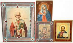 041188 RUSSIAN ICONS INCLUDING HANDPAINTED FOUR