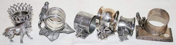 041308: SILVERPLATE NAPKIN RINGS & TOOTHPICK HOLDER