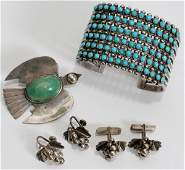 041496: STERLING SILVER & TURQUOISE PIN, EARRINGS