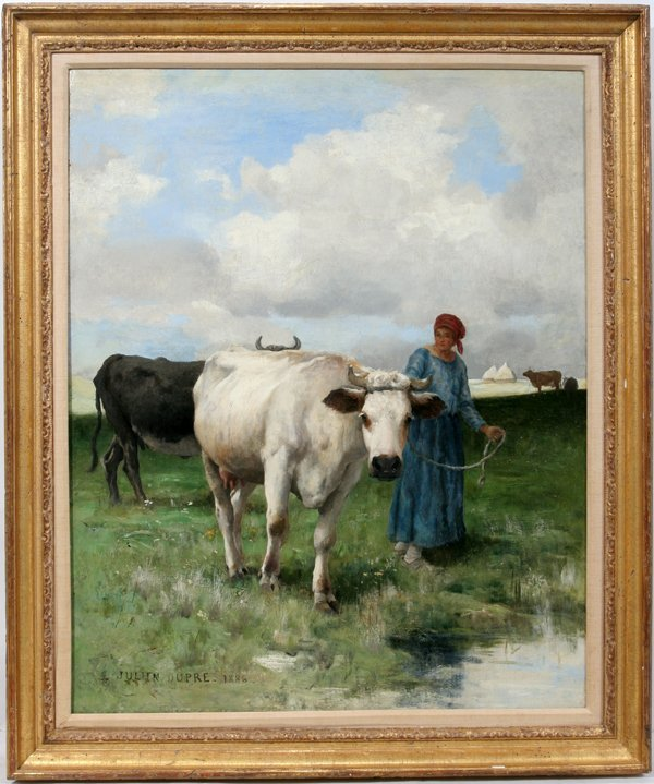 042009: JULIEN DUPRE OIL YOUNG WOMAN LEADING COWS