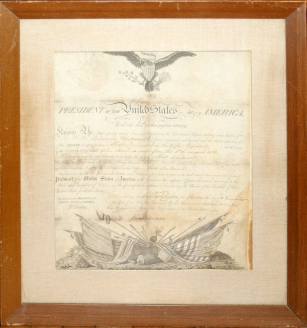042010: JAMES MADISON 1812 SIGNED MILITARY DOCUMENT