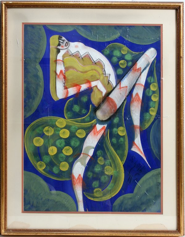 042019: HUGO SCHEIBER GOUACHE DANCER WITH WINGS
