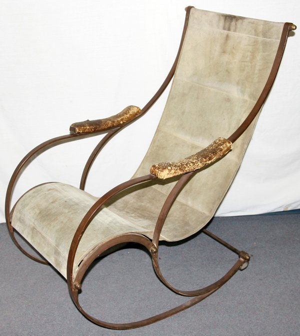 042020: WROUGHT IRON BENT FRAME ROCKER, MID 19TH C.