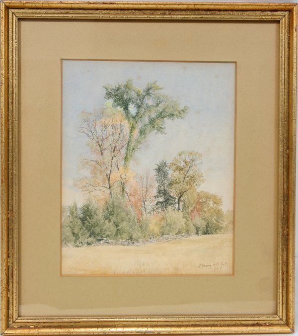 "042072: J.H. HILL, WATERCOLOR, 1857 7"" X 5 5/8"" SIGHT"