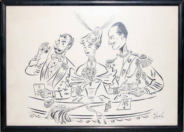 "042087: CONSTANTIN ALAJALOV INK DRAWING, 1951, 9 1/2"""