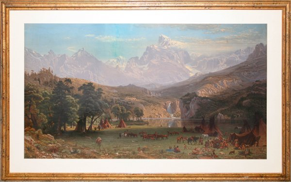 042197: COLOR LITHOGRAPH 'INDIAN ENCAMPMENT'