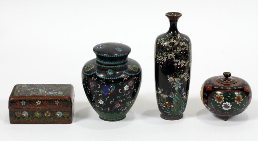 JAPANESE, CLOISONNE VASE, BOX AND JARS, 1930