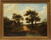 JOSEPH THORS OIL ON CANVAS LAID ON BOARD
