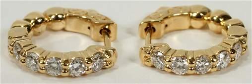 101CT DIAMOND 14 KT YELLOW GOLD HOOP EARRINGS