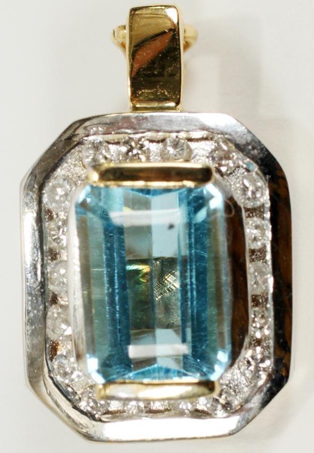 TOPAZ & DIAMOND, WHITE & YELLOW GOLD PENDANT