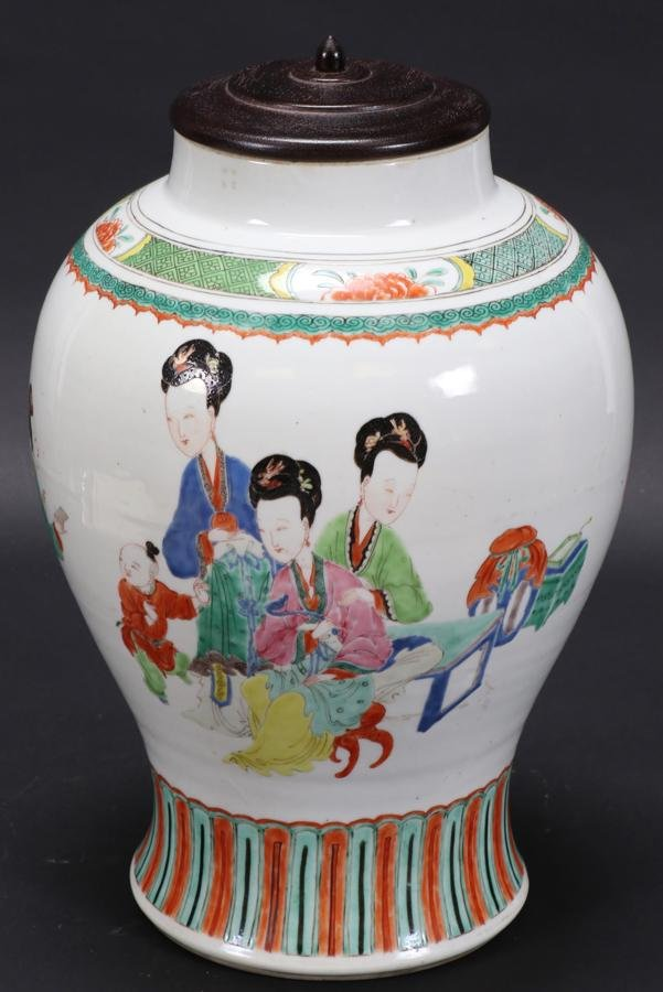 "CHINESE PORCELAIN JAR, 19TH C., H 14"""