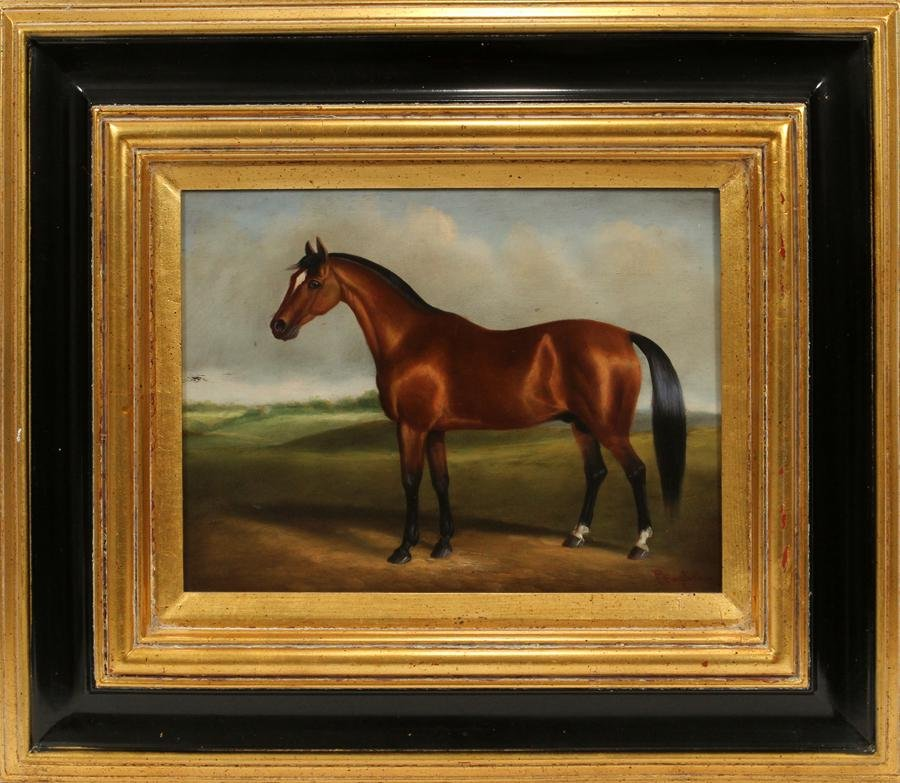 P. ENGLISH OIL PAINTING, HORSE IN LANDSCAPE