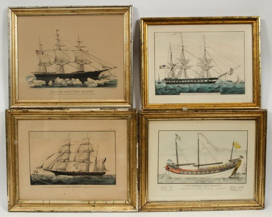 CURRIER & IVES LITHOGRAPHS ON PAPER, 4 PCS