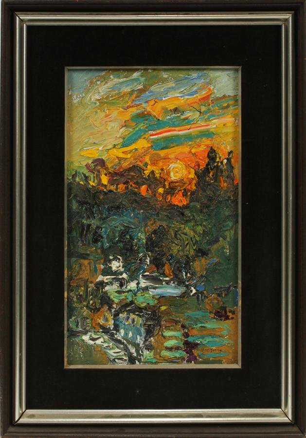 ILLEGIBLY SIGNED CHINESE OIL ON CANVAS, SUNSET