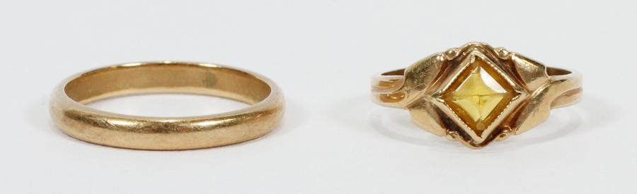 YELLOW GOLD RING & CHILD'S 14KT YELLOW GOLD BAND